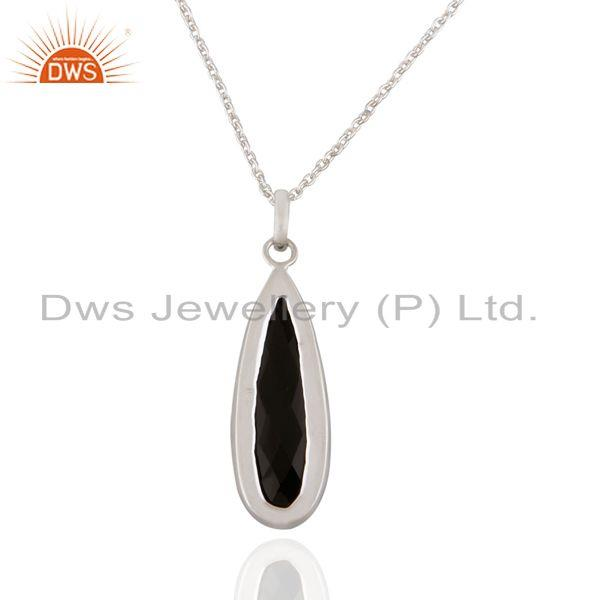 Suppliers Sterling Silver Genuine Gemstone Black Onyx Pear Shape Faceted Bezel Set Pendant