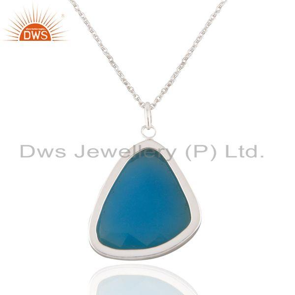 Suppliers 925 Solid Sterling Silver Aqua Chalcedony Gemstone Bezel Set Pendant With 16