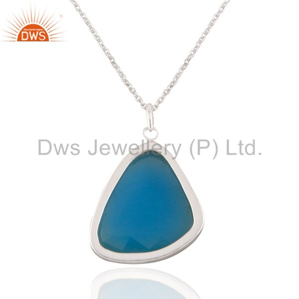 Exporter 925 Solid Sterling Silver Aqua Chalcedony Gemstone Bezel Set Pendant With 16