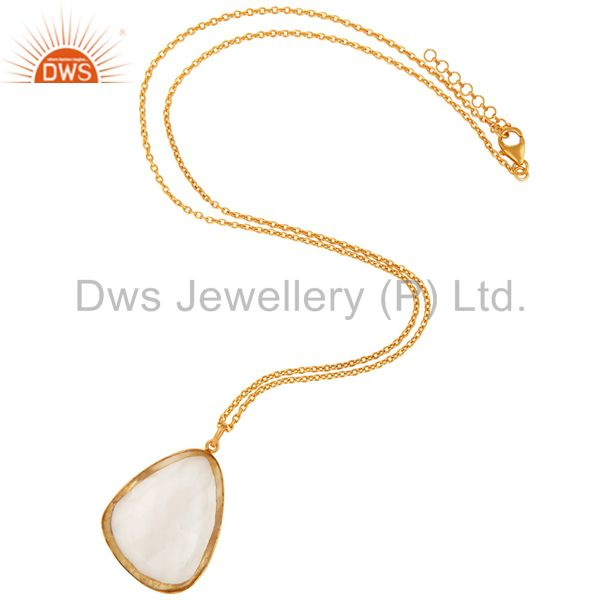 Exporter 18K Yellow Gold Plated Sterling Silver Crystal Quartz Pendant With Chain