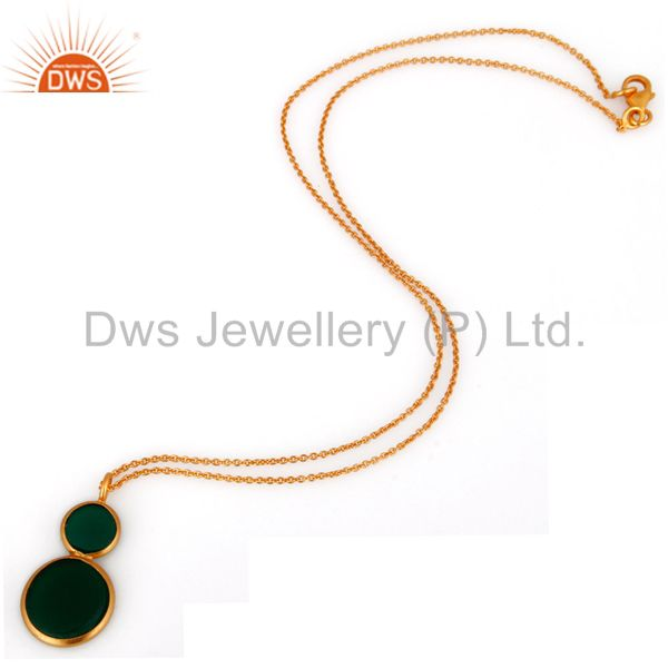 Exporter 925 Sterling Silver Green Onyx Gemstone Fashion Pendant Gold Plated Jewelry