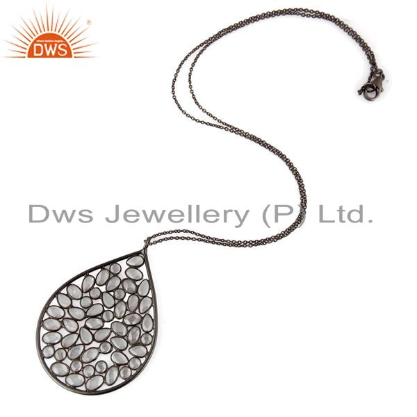 Exporter 925 Sterling Silver Rhodium Plated White Cubic Zirconia Pendant 17