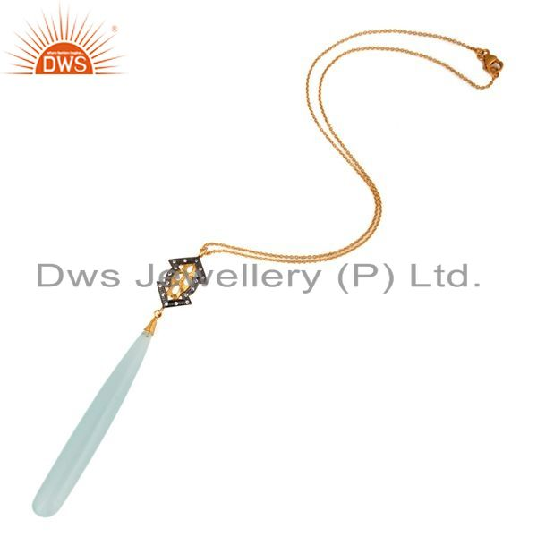 Exporter 18K Yellow Gold Plated Sterling Silver Aqua Chalcedony & cz Pendant With Chain