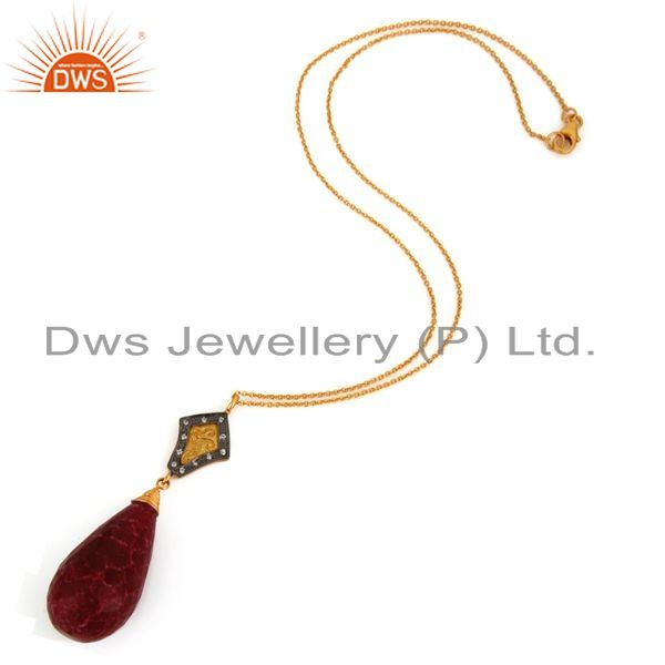 Exporter 18K Yellow Gold Plated Sterling Silver Dyed Ruby Gemstone Drop Pendant With Chai