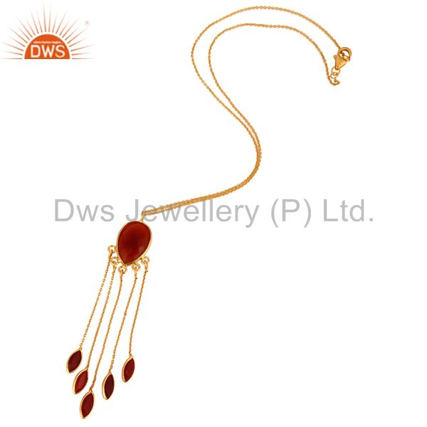 Exporter 925 Sterling Silver Red Onyx Gemstone 24K Gold Plated Chandelier Style Pendant