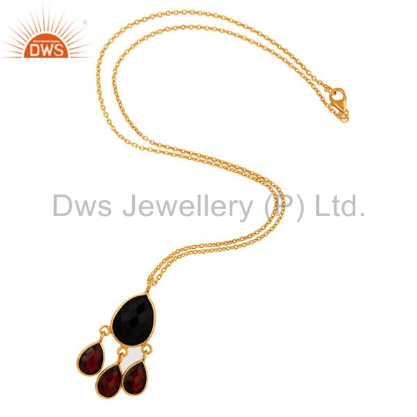 Exporter 925 Sterling Silver Natural Black Onyx Garnet Pendant With Gold Plated