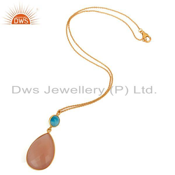 Exporter 18K Gold Over 925 Sterling Silver Natural Chalcedony Gemstone Pendant With Chain
