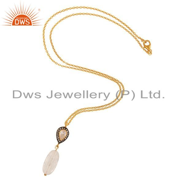 Exporter Natural Crystal Quartz And Cubic Zirconia 925 Sterling Silver Pendant With Chain