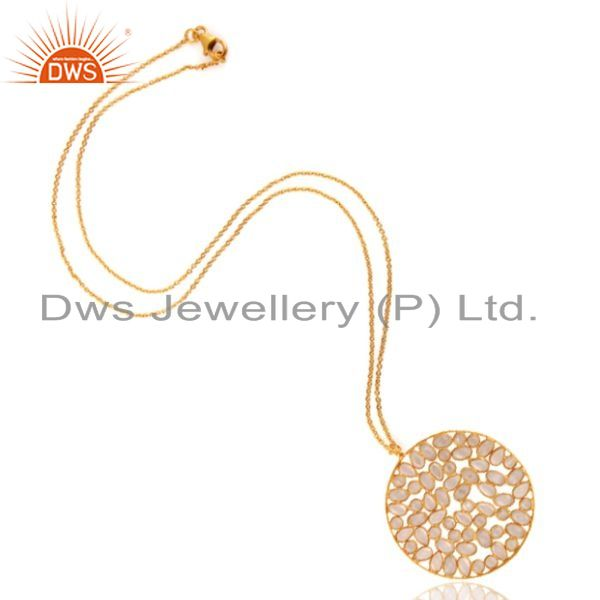 Exporter Cubic Zirconia Stunning 22K Yellow Gold Plated Sterling Silver Circle Pendant