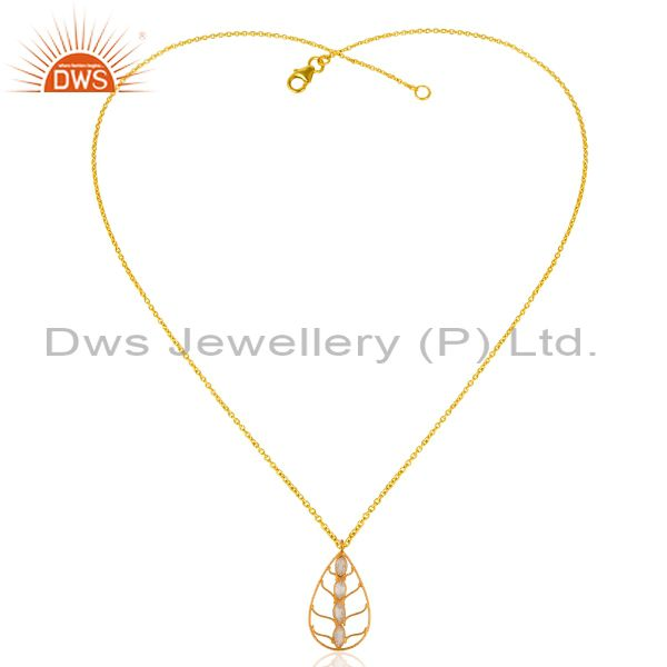 Exporter 22K Yellow Gold Plated 925 Sterling Silver Cubic Zriconia Pendant Necklace