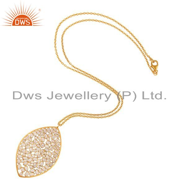 Exporter White Cubic Zirconia Yellow Gold Plated Sterling Silver Pendant With Chain
