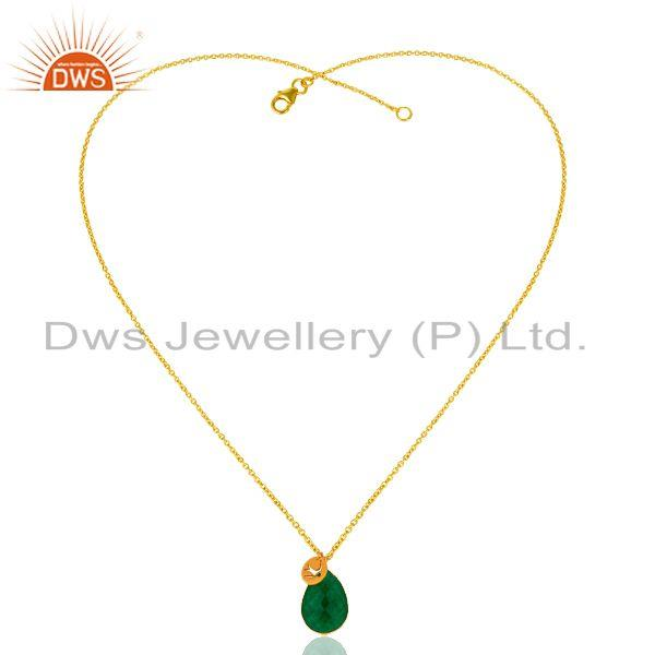 Exporter Handmade 22K Yellow Gold Plated Green Aventurine Sterling Silver Drop Pendant