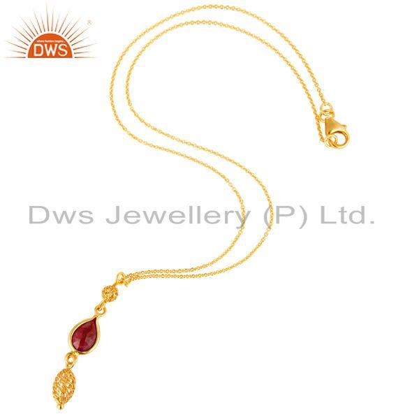 Exporter Ruby Red Corundum Gemstone 18K Gold Plated Sterling Silver Pendant With Chain
