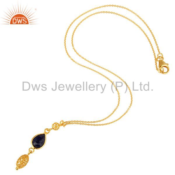 Exporter 18K Yellow Gold Plated Sterling Silver Blue Sapphire Gemstone Pendant With Chain