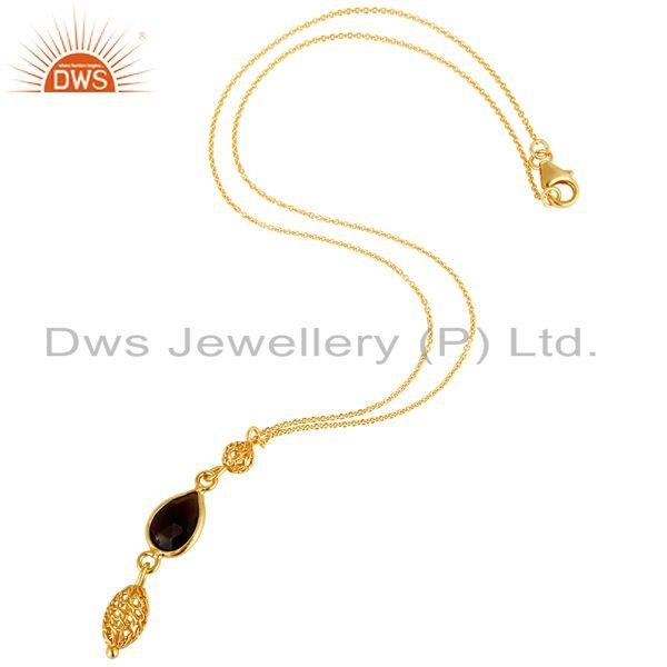 Exporter 18K Yellow Gold Plated Sterling Silver Smoky Quartz Designer Pendant With Chain