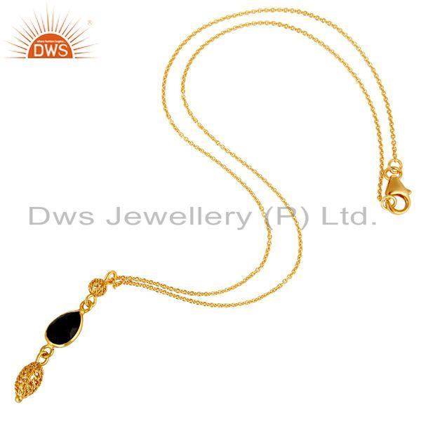 Exporter 18K Yellow Gold Plated Sterling Silver Black Onyx Designer Pendant With Chain