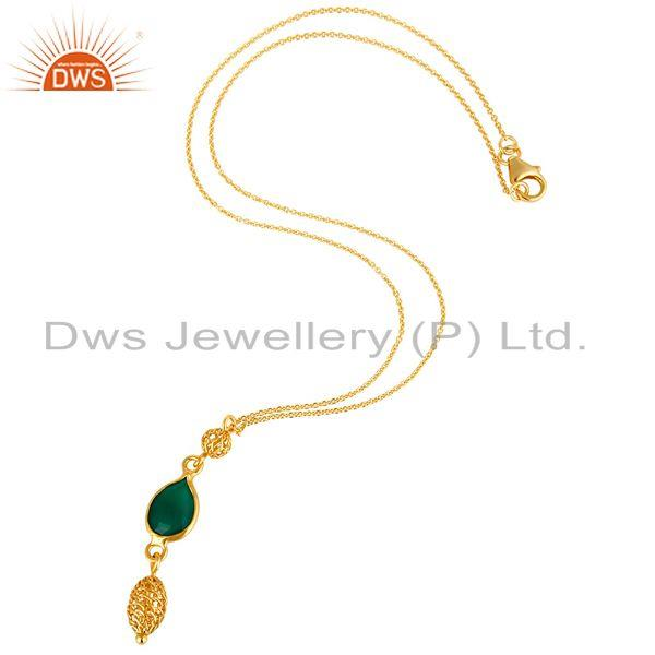 Exporter 18K Yellow Gold Plated Sterling Silver Green Onyx Gemstone Pendant With Chain