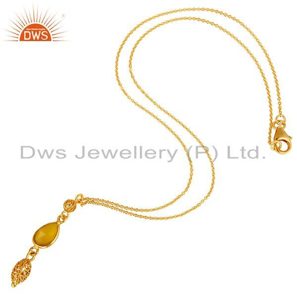 Exporter 14K Yellow Gold Plated Sterling Silver Yellow Chalcedony Pendant With Chain