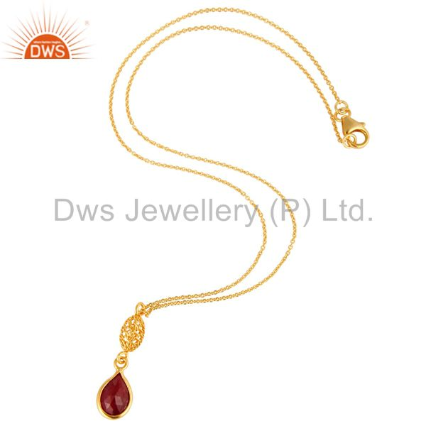 Exporter 18K Gold Plated Sterling Silver Ruby Red Corundum Designer Pendant With Chain