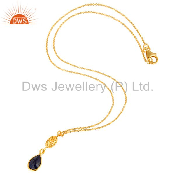 Exporter Gold Plated Sterling Silver Sapphire Blue Corundum Designer Pendant With Chain