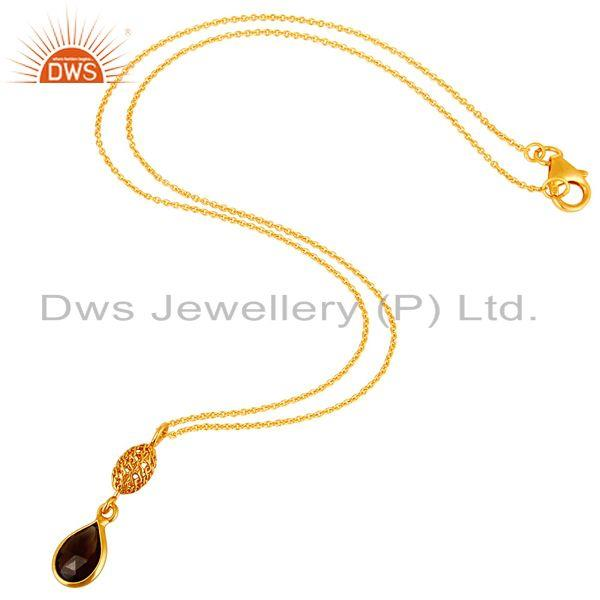Exporter 14K Yellow Gold Plated Sterling Silver Smoky Quartz Designer Pendant With Chain