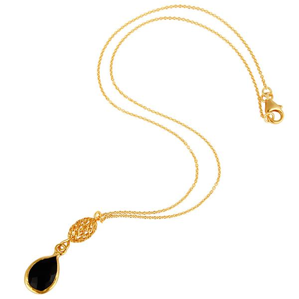 Exporter 18K Yellow Gold Plated Sterling Silver Black Onyx Gemstone Drop Pendant Necklace