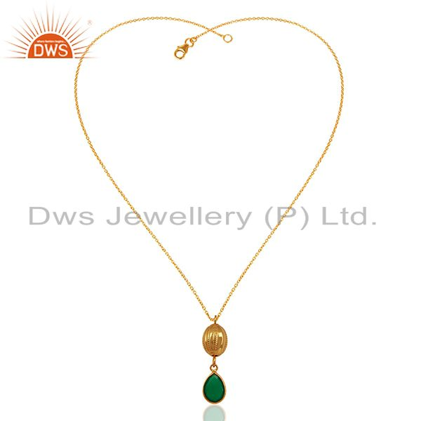 Exporter 18K Yellow Gold Plated Sterling Silver Green Onyx Drop Pendant With 16