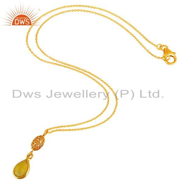 Exporter 18K Gold Plated Sterling Silver Yellow Moonstone Designer Pendant With Chain
