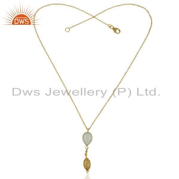 Exporter Aqua Chalcedony 14K Gold Plated Filigree 92.5 Sterling Silver Pendent