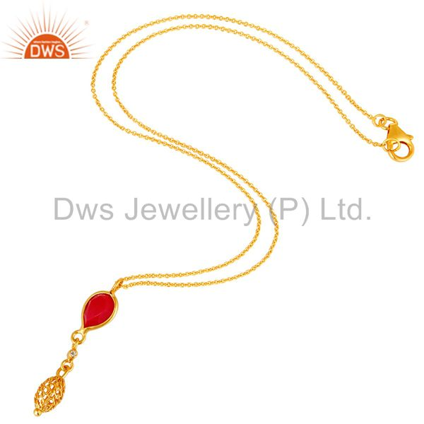Exporter 18K Gold Plated Sterling Silver Chalcedony And White Topaz Pendant With Chain