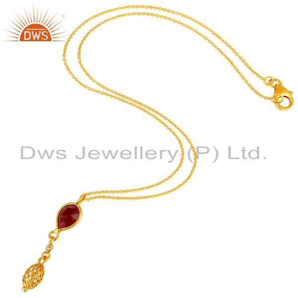 Exporter 14K Yellow Gold Plated Sterling Silver Ruby And White Topaz Pendant With Chain