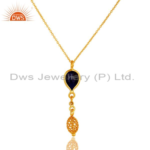 Exporter 14K Gold Plated Sterling Silver Blue Sapphire And White Topaz Pendant With Chain