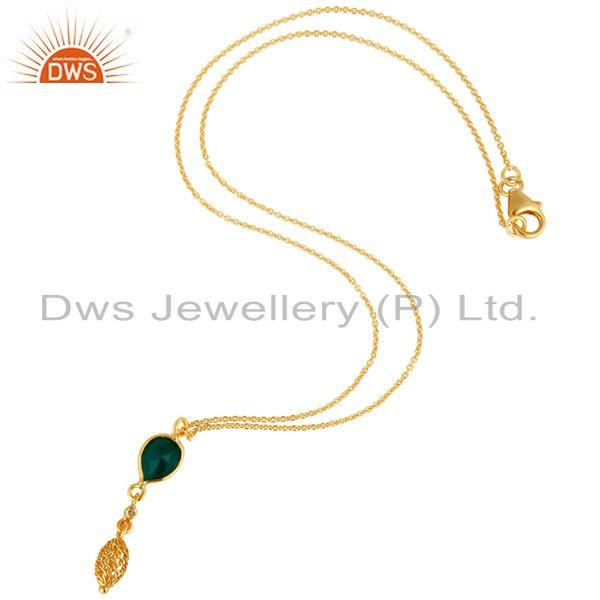 Exporter 18K Gold Plated Sterling Silver Green Onyx And White Topaz Designer Pendant