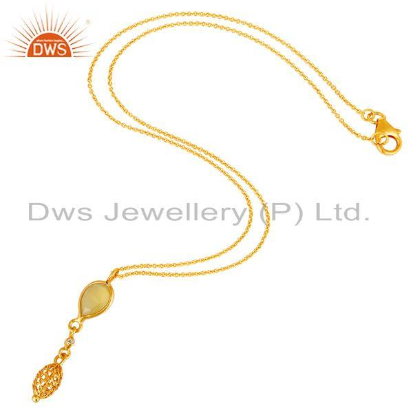 Exporter 18K Gold Plated Silver Yellow Chalcedony And White Topaz Pendant With Chain