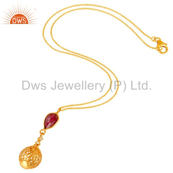 Exporter Handmade Ruby Corundum Sterling Silver Designer Pendant With Gold Plated