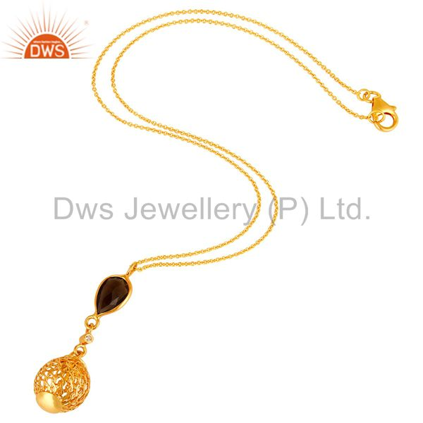 Exporter 14K Gold Plated Sterling Silver Smoky Quartz And White Topaz Pendant With Chain