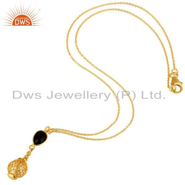 Exporter 18K Yellow Gold Plated Sterling Silver Black Onyx & White Topaz Pendant Necklace