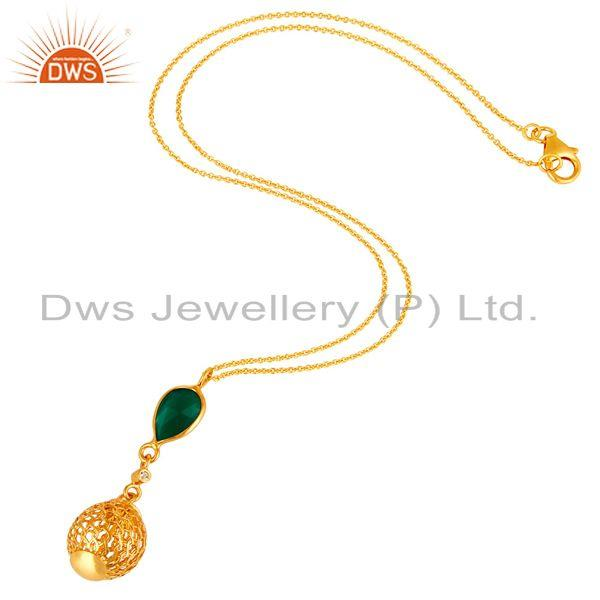 Exporter 14K Gold Plated Sterling Silver Green Onyx And White Topaz Pendant With Chain