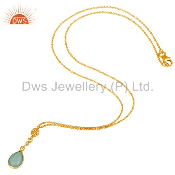 Exporter Chalcedony & White Zircon Chain Pendant With 22K Gold Plated 925 Sterling Silver