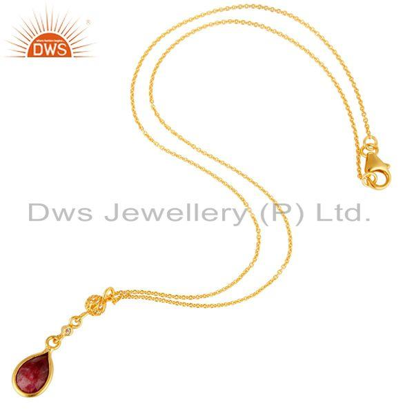 Exporter 18K Yellow Gold Plated Sterling Silver Ruby And White Topaz Pendant Necklace