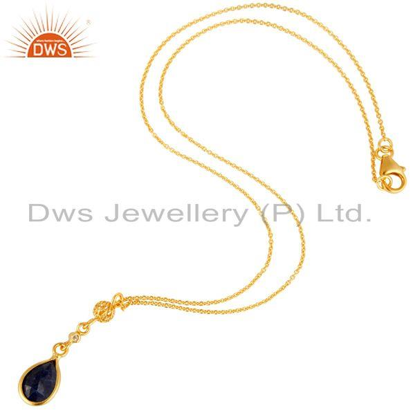 Exporter Dyed Blue Sapphire & White Topaz 18K Gold Plated Sterling Silver Pendant Necklac