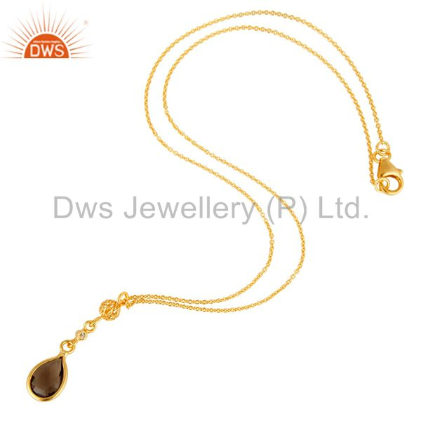 Exporter White Topaz And Smoky Quartz Pendant Necklace In 18K Gold On Sterling Silver