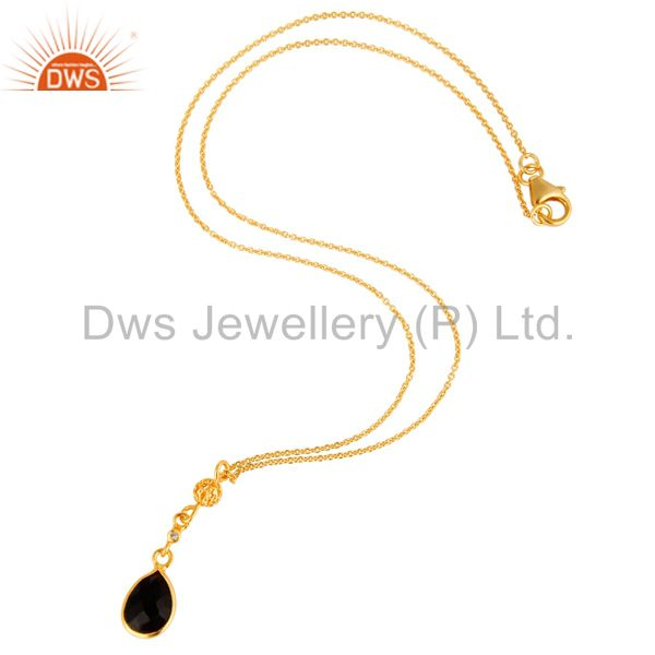 Exporter Black Onyx And White Topaz Pendant In 18K Yellow Gold Over Sterling Silver