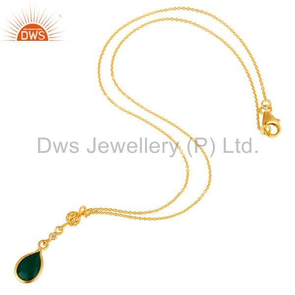 Exporter Green Onyx And White Topaz Pendant Necklace In 18K Gold On Sterling Silver