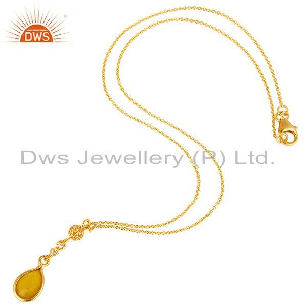 Exporter Chalcedony & White Topaz Pendant Necklace In 18K Gold On Sterling Silver
