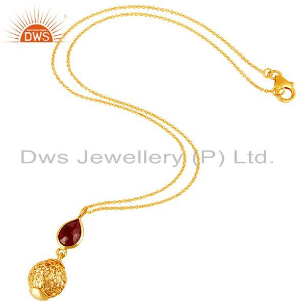 Exporter 14K Gold Plated Sterling Silver Ruby Designer Pendant With Chain