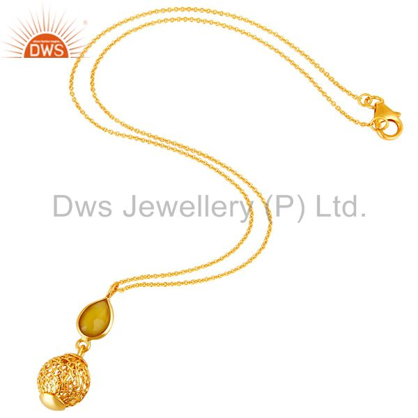 Exporter 18K Gold Plated Sterling Silver Yellow Chalcedony Designer Pendant With Chain