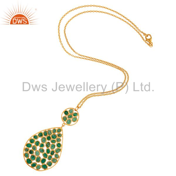 Exporter Natural Emerald Gemstone Sterling Silver Drop Pendant With Chain - Gold Plated