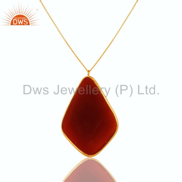 Exporter 18K Gold Plated Sterling Silver Faceted Carnelian Stone Bezel Pendant Necklace