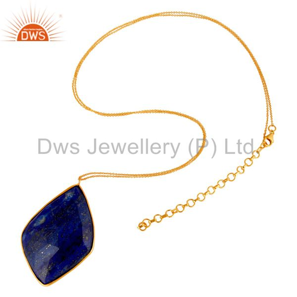 Exporter 18K Gold Over Sterling Silver Faceted Lapis Lazuli Bezel Set Pendant With Chain